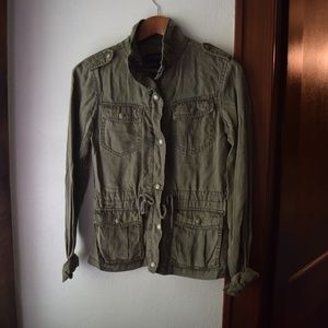 Max Jeans XS Green Utility Jacket Zip Up
